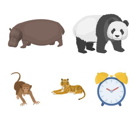 Bamboo bear, hippopotamus, wild animal tiger, monkey . Wild animal set collection icons in cartoon style vector symbol stock illustration web.