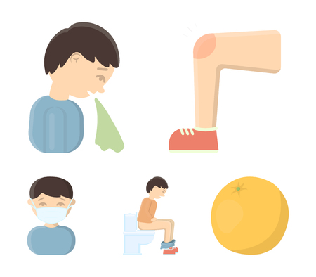 A foot with a bruise in the knee, sneezing sick, a man sitting on the toilet, a man in a medical mask. Sick set collection icons in cartoon style vector symbol stock illustration web.
