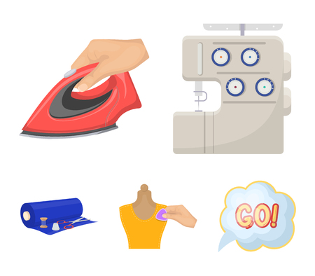 Electric sewing machine, iron for ironing, marking with chalk clothes, roll of fabric and other equipment. Sewing and equipment set collection icons in cartoon style vector symbol stock illustration web. Illustration