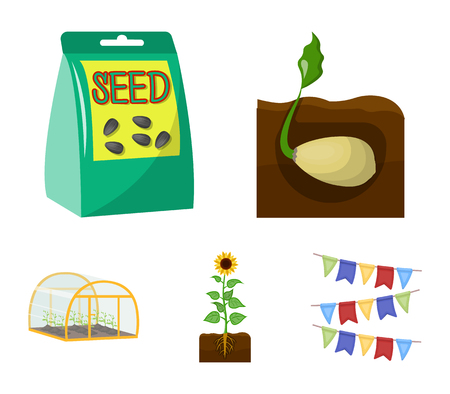 Company, ecology, and other  icon in cartoon style. Husks, fines, garden icons in set collection.