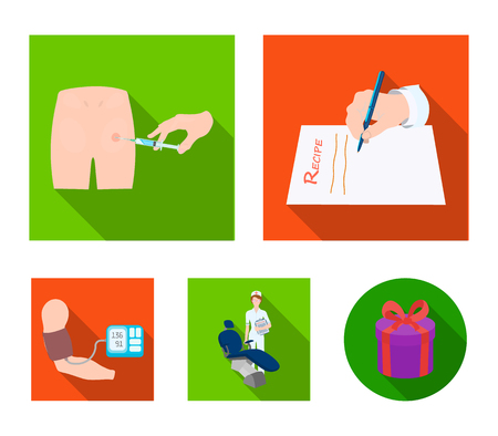 Intramuscular injection, prescription, Dentist, blood pressure measurement. Medicineset collection icons in flat style vector symbol stock illustration . Illustration