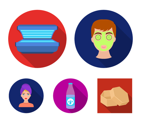 Face mask, solarium, bottle ts lasenom, pimples on face. Skin Care set collection icons in flat style vector symbol stock illustration . Illusztráció