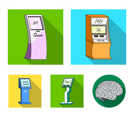 Medical terminal, ATM for payment,apparatus for queue,. Terminals set collection icons in flat style isometric vector symbol stock illustration . 矢量图像