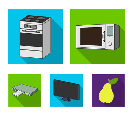 Home appliances and equipment flat icons in set collection for design. 向量圖像
