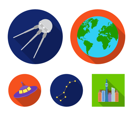 Planet Earth with continents and oceans, flying satellite, Ursa Major, UFO. Space set collection icons in flat style vector symbol stock illustration web. Illustration