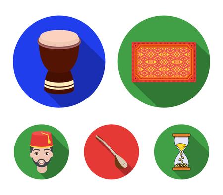 Turkish carpet, saz, drum, turkish men.Turkey set collection icons in flat style vector symbol stock illustration . Illustration