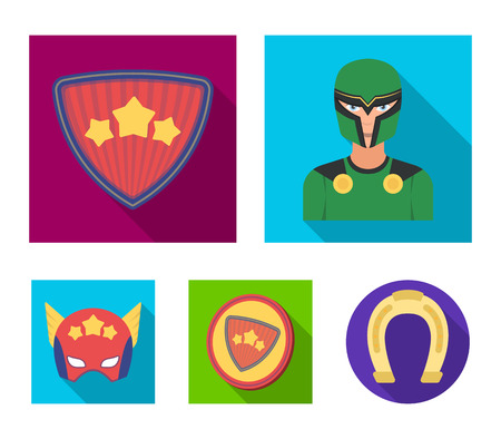 Man, mask, cloak, and other  icon in flat style.Costume, superman, superforce, icons in set collection.