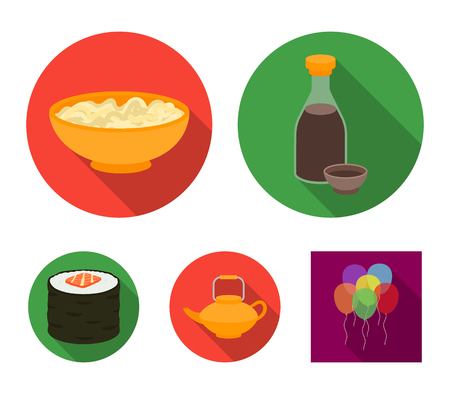 Soy sauce, noodles, kettle.rolls.Sushi set collection icons in flat style vector symbol stock illustration . Illustration