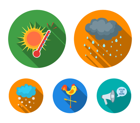 Rain, snow, heat, weathervane. The weather set collection icons in flat style vector symbol stock illustration .