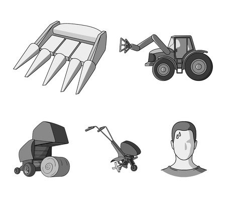 Agricultural machinery set collection icons in monochrome style vector symbol stock illustration