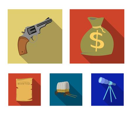 Se está buscando una bolsa con dinero, Colt, van. Wild West establece los iconos de la colección en la ilustración stock de símbolo de vector de estilo plano. Ilustración de vector