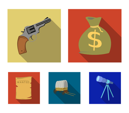 Bag with money, Colt, van, is being searched for. Wild West set collection icons in flat style vector symbol stock illustration .
