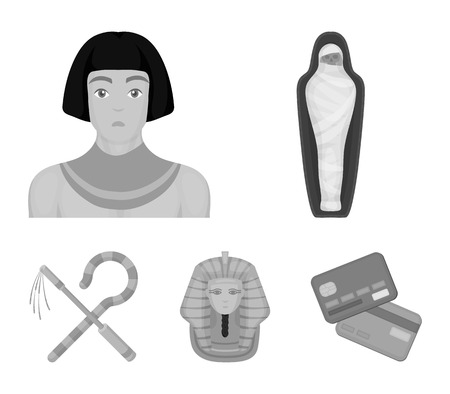 Crook and flail, a golden mask, an egyptian, a mummy in a tomb.Ancient Egypt set collection icons in monochrome style vector symbol stock illustration .