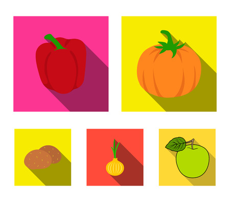 Vegetables set collection icons in flat style vector symbol stock illustration.
