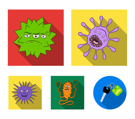 Viruses and bacteria set collection icons in flat style vector symbol stock illustration web.