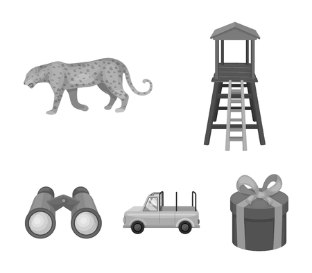 Observation tower for the hunter, leopard, hunting machine, binoculars. African safari set collection icons in monochrome style vector symbol stock illustration .
