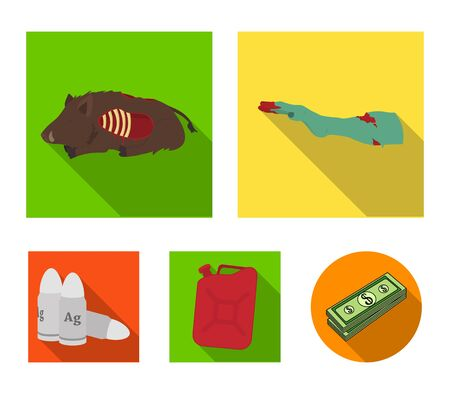 Rotten, flesh, boar, and other  icon in flat style.Apocalypse, end, world icons in set collection.