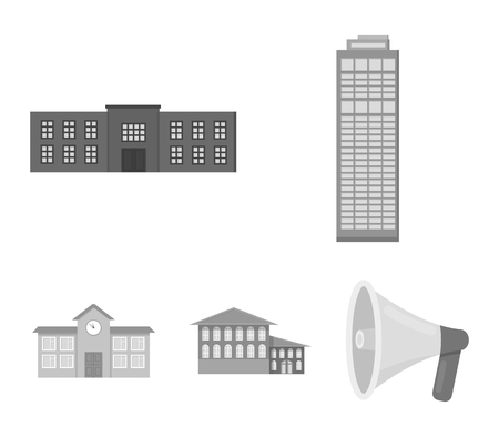 Skyscraper, police, hotel, school.Building set collection icons in monochrome style vector symbol stock illustration .