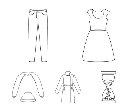 Dress with short sleeves, trousers, coats, raglan.Clothing set collection icons in outline style vector symbol stock illustration .