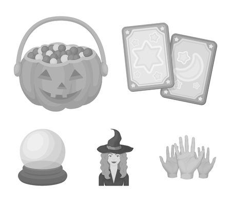 Tarot cards, holiday halloween, magician in a hat, crystal ball.Black and white magic set collection icons in monochrome style vector symbol stock illustration . Ilustração