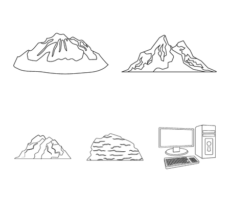 Mountains in the desert, a snowy peak, an island with a glacier, a snow-capped mountain. Different mountains set collection icons in outline style vector symbol stock illustration . Vectores