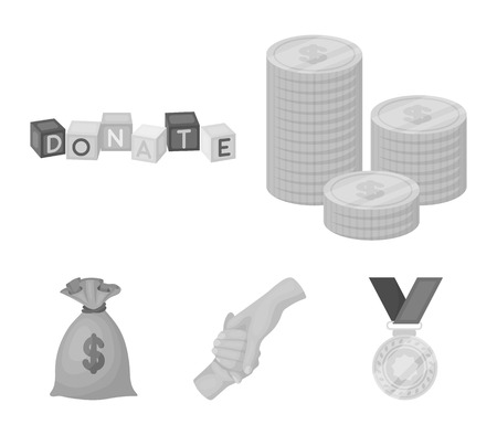 A pile of coins for donations, colored cubes with an inscription, a handshake, a bag of money for donations. Charity and donation set collection icons in monochrome style vector symbol stock illustration web.