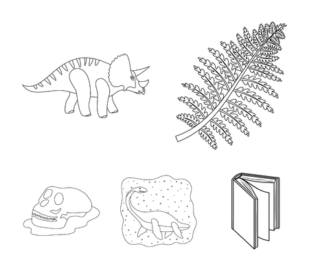 Sea dinosaur,triceratops, prehistoric plant, human skull. Dinosaur and prehistoric period set collection icons in outline style vector symbol stock illustration web.