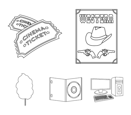 Western cinema, tickets, sweet cotton wool, film on DVD.Filmy and cinema set collection icons in outline style vector symbol stock illustration web.