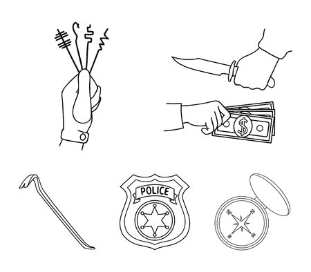 Robbery, picks, a police officers badge, a crowbar.Crime set collection icons in outline style vector symbol stock illustration web.