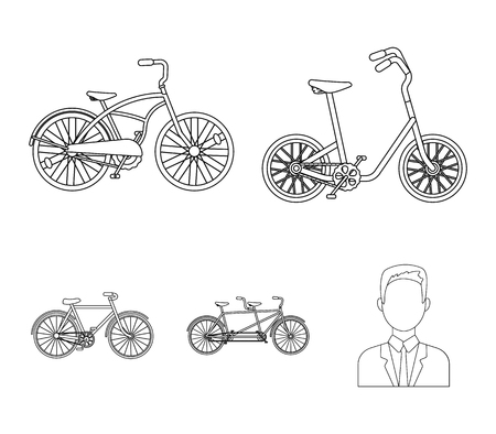 Children's bicycle, a double tandem and other types. Different bicycles set collection icons in outline style vector symbol stock illustration web. Ilustracja