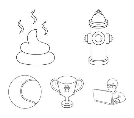 Tennis ball, game, hydrant fire, cup, feces. Dog set collection icons in outline style vector symbol stock illustration web.