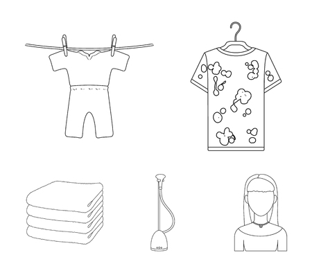 Vacuum cleaner, a stack of cloth, dirty and clean things. Dry cleaning set collection icons in outline style vector symbol stock illustration web.