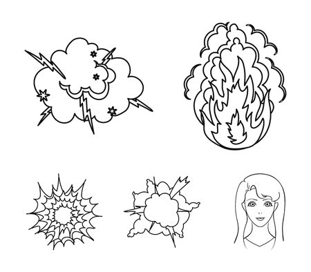 Flame, sparks, hydrogen fragments, atomic or gas explosion, thunderstorm, solar explosion. Explosions set collection icons in outline style vector symbol stock illustration web.