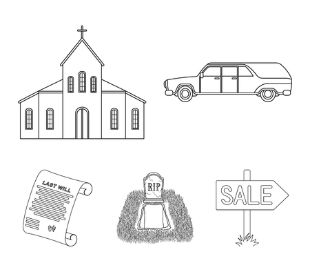 Black car to transport the grave of the deceased, a church for a funeral ceremony, a grave with a tombstone, a death certificate. Funeral ceremony set collection icons in outline style vector symbol stock illustration web.