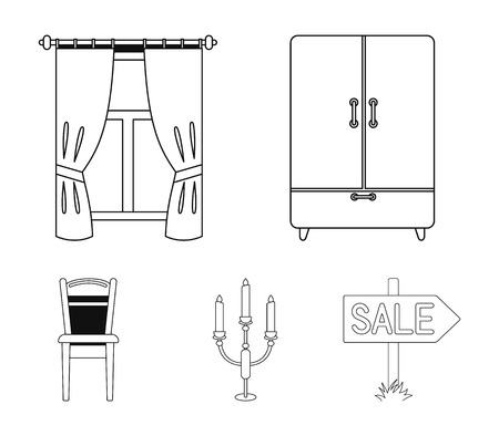 Wardrobe, window with curtains, candlestick, chair. Furniture set collection icons in outline style vector symbol stock illustration web.