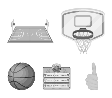 Basketball and attributes icons in set collection for design. Basketball player and equipment vector symbol stock web illustration.
