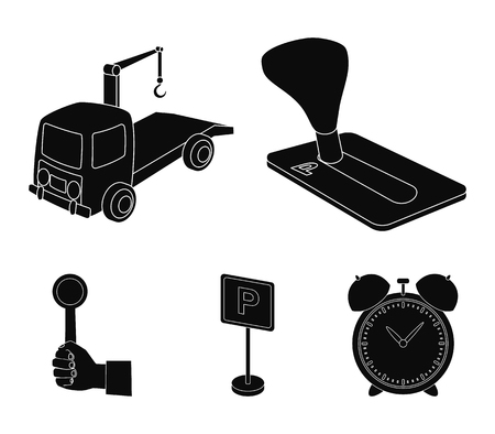 Transmission handle, tow truck, parking sign, stop signal. Parking zone set collection icons in black style vector symbol stock illustration web. Vettoriali