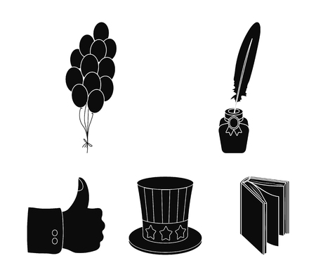 Balloons, inkwell with a pen, Uncle Sams hat. The patriots day set collection icons in black style vector symbol stock illustration web.