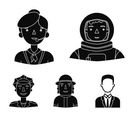 Un astronauta en un traje espacial, un compañero de trabajo con un micrófono, un bombero con casco, un policía con una placa en su gorra. Las personas de diferentes profesiones establecen iconos de colección en web de ilustración de stock de símbolo de vector de estilo negro.
