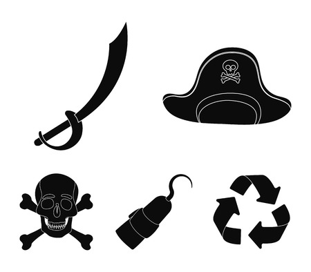 Pirate, bandit, cap, hook .Pirates set collection icons in black style vector symbol stock illustration web.