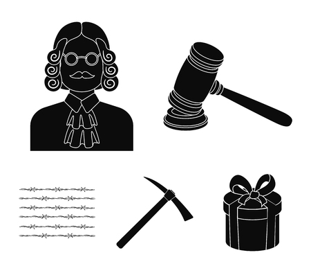 Judge, wooden hammer, barbed wire, pickaxe. Prison set collection icons in black style vector symbol stock illustration . Illustration