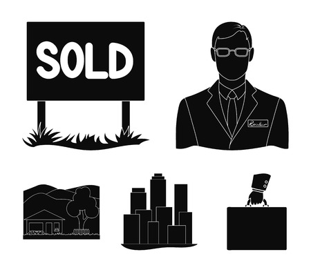 Employee of the agency, sold, metropolis, country house. Realtor set collection icons in black style vector symbol stock illustration .