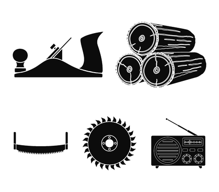 Logs in stacks, two-handed saws, circular saw. Sawmill and timber set collection icons in black style vector symbol stock illustration .