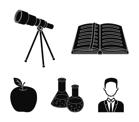 An open book with a bookmark, a telescope, flasks with reagents, a red apple. Schools and education set collection icons in black style vector symbol stock illustration .