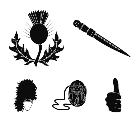 National Dirk Dagger, Thistle National Symbol, Sporran,glengarry.Scotland set collection icons in black style vector symbol stock illustration web. Çizim