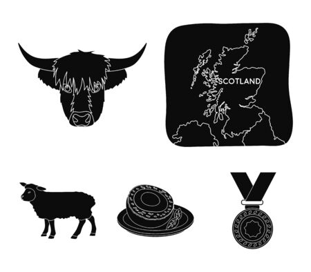 Territory on the map, bulls head, cow, eggs. Scotland country set collection icons in black style vector symbol stock illustration .