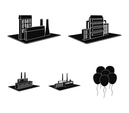 Processing factory,metallurgical plant. Factory and industry set collection icons in black style isometric vector symbol stock illustration .