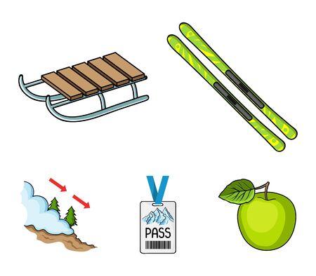 Ski, sled, lifeguard badge, badge avalanche. Ski resort set collection icons in cartoon style vector symbol stock illustration . Illustration