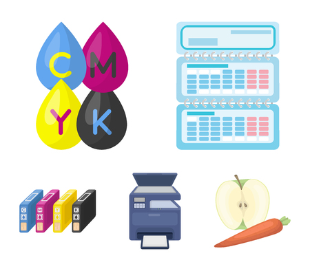 Calendar, drops of paint, cartridge, multi-function printer. Typography set collection icons in cartoon style vector symbol stock illustration web. Illustration
