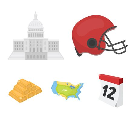 Football players helmet, capitol, territory map, gold and foreign exchange. USA Acountry set collection icons in cartoon style vector symbol stock illustration web.